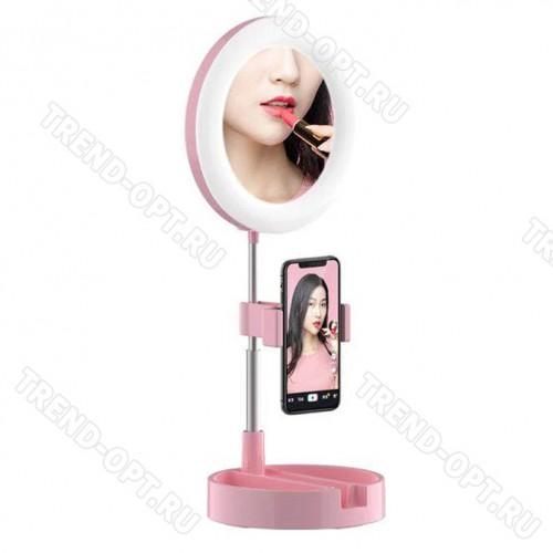 Селфи лампа с зеркалом и зажимом для телефона