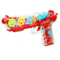 Прозрачный светящийся пистолет с шестеренками GEAR LIGHT GUN оптом