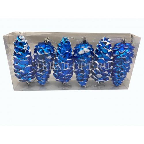 Набор новогодних подвесных украшений Шишки диаметр 12 см, 6 шт.