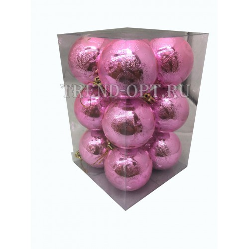 Набор новогодних подвесных украшений Узор диаметр 6 см, 12 шт