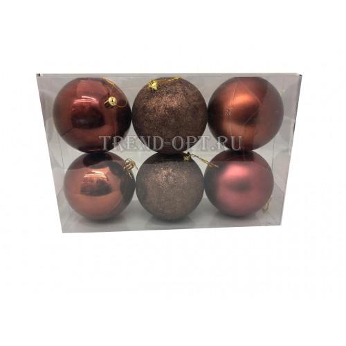 Набор новогодних подвесных украшений Пудра диаметр 10 см, 6 шт