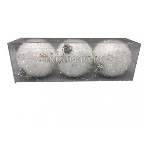 Набор новогодних подвесных украшений Снежок диаметр 10 см, 6 шт