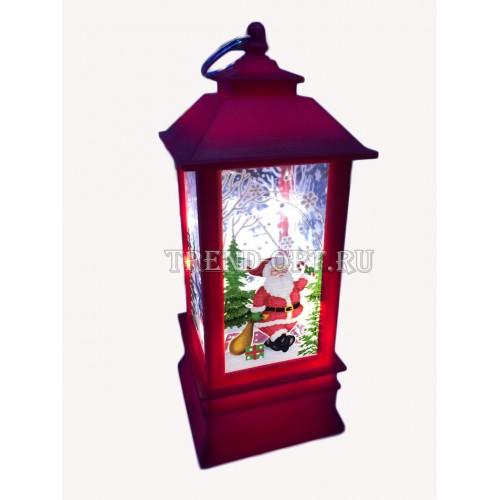 Новогодний фонарь с подсветкой с Оленем