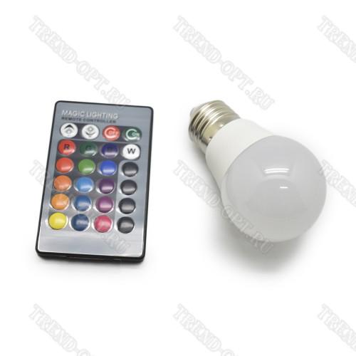 Светодиодная RGB лампа с пультом управления A60
