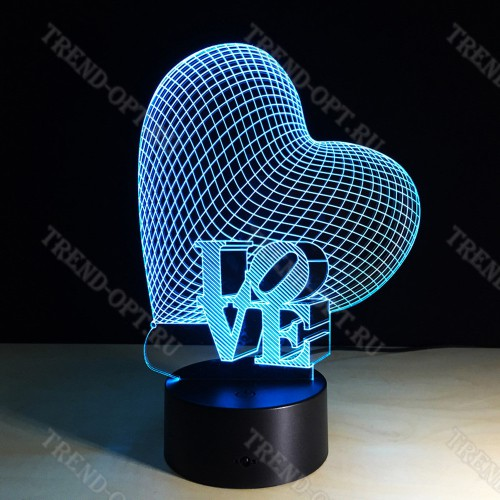 3D Светильник Сердце с надписью