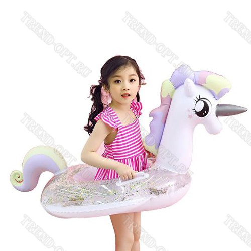 Детский надувной круг Единорог пони с блестками