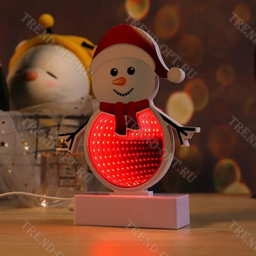 Светильник с эффектом бесконечности Снеговик